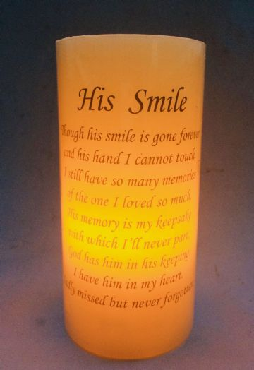 HIS SMILE Flickering Tribute Remembrance LED  Candle